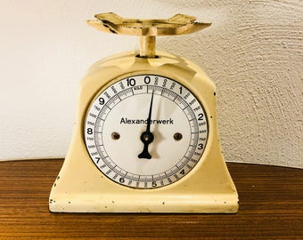 Kitchen scale, enamel, scale, antique. Alexanderwerk, shabby-chic, country house, antique scale, shabby, kitchen scale, white
