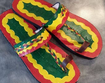 Hand painted, hand made leather Rasta sandals