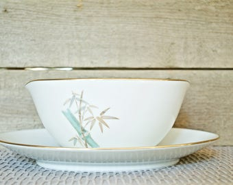 Noritake China Oriental Pattern 6341 Gravy Boat with attached Underplate, Creamer, Green and Gold Bamboo Stalks, Gold Trim, Mid Century