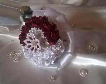 Burgundy and Navy bridal bouquet in satin ribbon kanzashi bordeauxe and white with Rhinestone silver