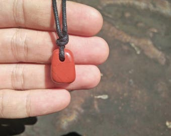 Red Jasper stone necklace with   black cotton.