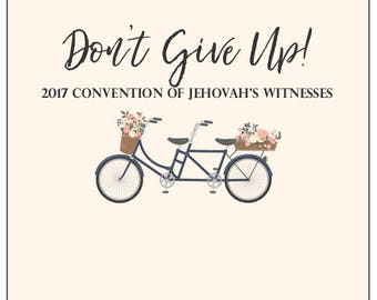 JW Convention Notebook (Don't Give Up! 2017) Instant Download. Vintage Bikes & Blooms