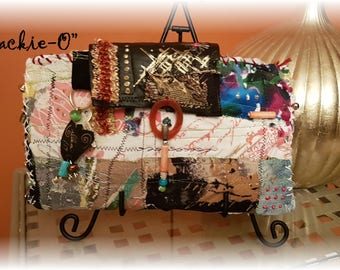 Hippy BoHo Handsewn Upcycled Clutch Purse Antique Barkcloth, Velvet, Beads, Signed Numbered Named this is Jackie-O #010  OOAK