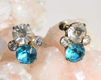 Sky Blue and Clear Rhinestone Earrings