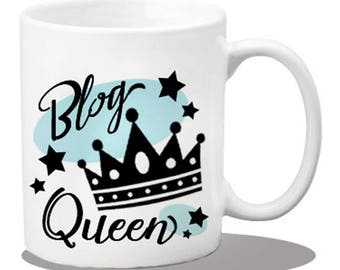 Ceramic blog queen mug, ceramic coffee mug, blog queen gift items, printed coffee mugs, blogger gifts, blog queen mug, coffee cups, bloggers