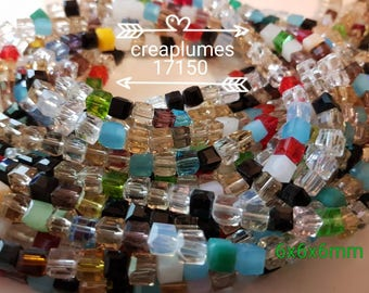 30 faceted beads 6mm glass cubes