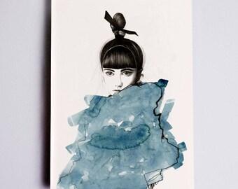 Top Knot #1 Fashion Illustration Print, Fashion Wall Art, Fashion Sketch, Fashion Sketch, Fashion Watercolour Print, Fashion Drawing