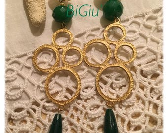 Earrings in Zamak and Jade