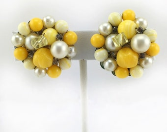 Japanese Yellow Bead Cluster Earrings, Faux Pearls, White, Clip On, Vintage, Mid Century