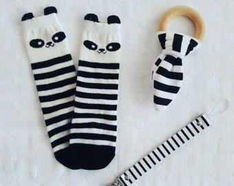 Baby panda knee high socks 0-1 yr