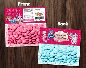 Personalized Shopkins Shoppies Bag Topper Printable Birthday Party Polka Dots Maroon Rainbow Kate Polli Polish Bridie Piroutta- Digital File
