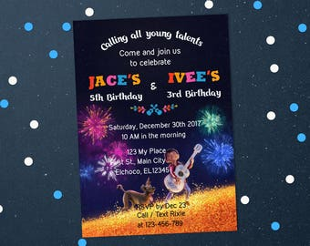 Personalized Coco Invitation Joint Birthday Celebration Twins Dante Guitar Invite Fireworks Printable DIY - Digital File