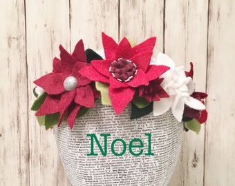 Noel Holiday Crown l Poinsettia Headband l Christmas Party Costume l Christmas Flowers l Holiday Flowers l Christmas Headband l Felt Crown
