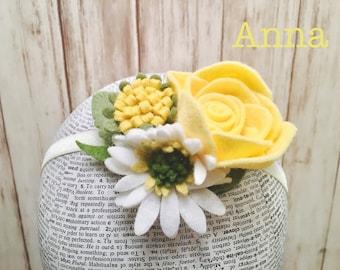 Anna Design l Flower Headband l Birthday Hat l Photography Prop l Child Felt Flower l Felt Flower l Floral Headband l Floral Crown