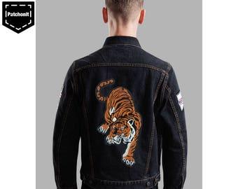 Tiger Iron on Patch Denim Jacket Tiger Embroidered Patch Denim Jacket Large Tiger Patch Aesthetic Patch Cool Iron on Patch Large Back Patch