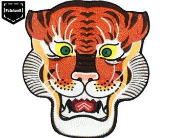 Large Tiger Patch Tiger Back Patch Tiger Sew on Patch Tiger Embroidered Patch Japanese Tiger Patch Large Back Patch Aesthetic Patch