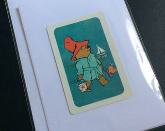 Handmade Vintage Playing Card Greetings Card. Paddington Bear at the seaside