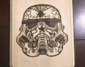 Wood burnt Tattooed storm trooper helmet