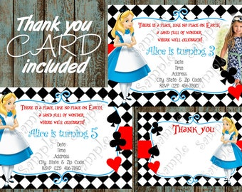 Alice in Wonderland Invitation, Alice in Wonderland Printable Invitation, Alice in Wonderland Birthday Party, Alice in Wonderland Thank you