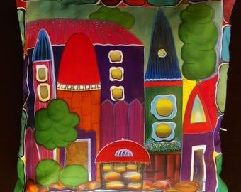 Batik Pure Silk and Cotton Pillow case Multi Coloured, Yellow, Magic town 35cm x 35cm