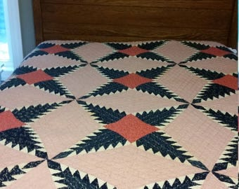 Vintage Red, White, and Blue Handmade Quilt