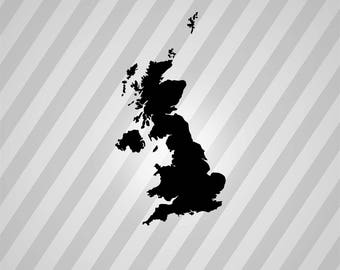 Great Britain Map Silhouette Map - Svg Dxf Eps Silhouette Rld RDWorks Pdf Png AI Files Digital Cut Vector File Svg File Cricut Laser Cut