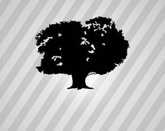 oak tree Silhouette - Svg Dxf Eps Silhouette Rld RDWorks Pdf Png AI Files Digital Cut Vector File Svg File Cricut Laser Cut