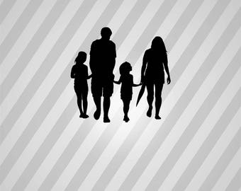family holding hands Silhouette - Svg Dxf Eps Silhouette Rld RDWorks Pdf Png AI Files Digital Cut Vector File Svg File Cricut Laser Cut