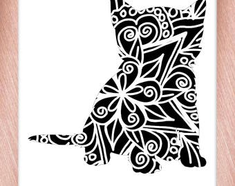 Kitten Papercut Template Mandala Henna - Svg Paper Cut Templates Stencil Line Art Pdf Cut Files Digital Clip Art Drawing