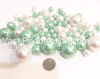 Mint Blue Pearls and White Pearls Vase Fillers for Centerpieces