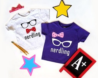 Nerdling T-Shirt for Kids, Nerdy Toddler Shirt, Mini Nerd Tee, Nerdy Glasses and Bow Tie Shirt, Nerdy Shirt, Cute Bow and Glasses Shirt