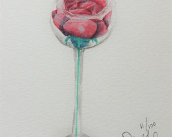 Watercolor Rose in Glass 5x5 Painting