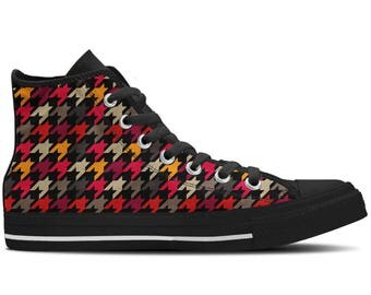 Men's High Top Sneaker with Evergreen Pattern 'Houndstooth' - Multicolored/Black