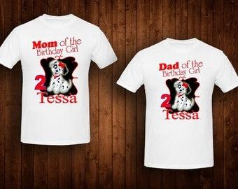 family shirts Dalmation birthday theme mom of the birthday girl dad of the birthday girl