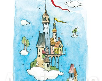 Cloud Castle / fantasy art / whimsical / art print from an original watercolor painting