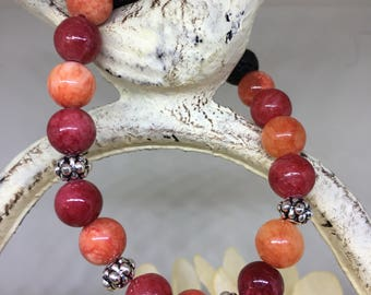 Red quartzite bracelet/lava beads/women's bracelet/essential oil beads/stretch beaded bracelets
