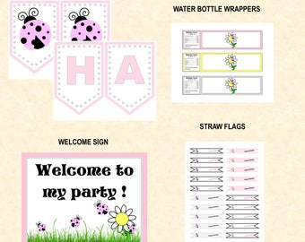 Pink Ladybug Party Set, Happy Birthday, Girl Birthday, Ladybug Party Set, Digital Ladybug Party,