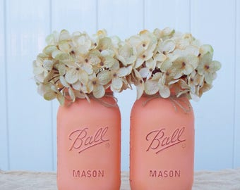 Peach mason jars,mason jar decor,mason jar floral arrangement,farmhouse decor,baby shower,wedding decor,rustic decor,peach decor,mason jars