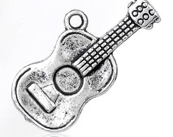25 metal guitar pendant charm 1 x 12 mm