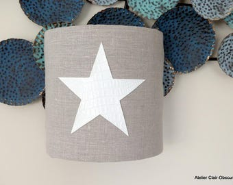 PM Wall Sconce in natural linen with star
