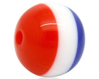 "set of 10 resin beads ""flag"" 10mm (1.5 mm hole)"