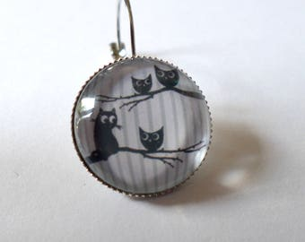 SOLD to the PIECE, earring, glass cabochon, cat and owls