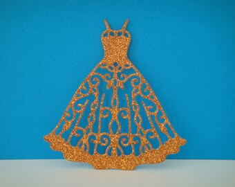Cutout dress orange glitter for creation