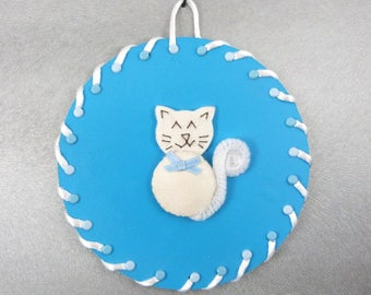 white silk cat blue background on CD - kids room painting