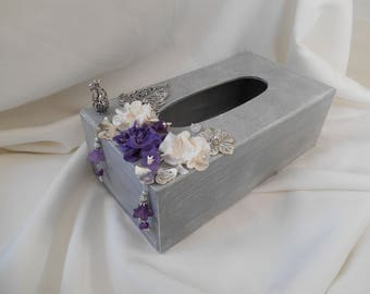 tissue box, wood box, storage tissue, box storage tissue paper, rectangular, tissue paper flowers