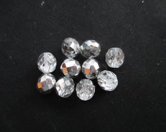 Faceted 10 mm: 8 beads crystal silver Bohemian