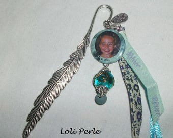 Bookmark personalized with your photo choice with matching ribbons and beads