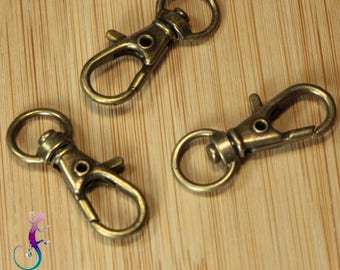 10 lobster clasps for key bronze A330