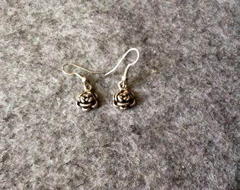 Silver Rose shaped earrings