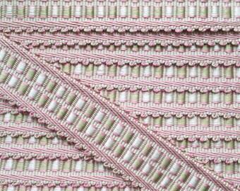 braid, upholstery tacks, 35 mm, Marie Antoinette, pink green VILLANDRY, waves, 32471 9470